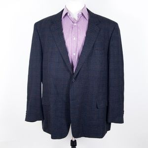Pronto Uomo Blue Plaid Lambswool Sportcoat 54 R